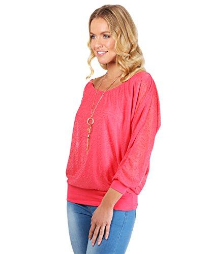 7214-COR-XL: KRISP Damen Fledermausärmel Shirt (Koralle, Gr.XL)