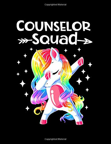 Counselor Squad: Dabbing Unicorn Notebook For Counselors 8.5 x11 Softcover Counselors Notebook 100 Pages