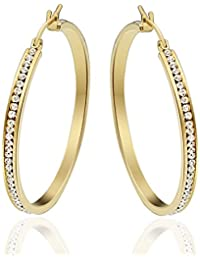 MoneekarJewels Stainless Steel Gold Plated High Shine Single Line AAA Quality CZ Hoop Earrings For Women