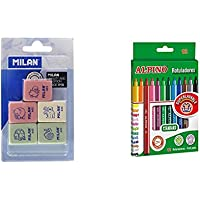 Milan BMM9222 - Pack de 5 gomas de borrar modelo de figurinas surtido + Alpino AR001002 - Pack de 12 rotuladores, colores surtidos