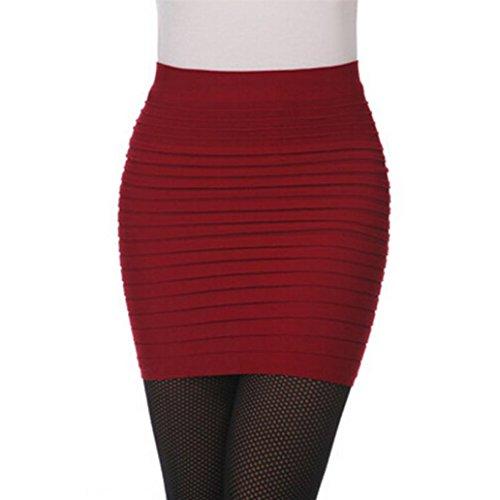 Kleider Damen Elegant, LHWY Frau Falten Sommer Rock Hüfte Kleid Ein Wort Rock Eng Anliegende Büro Kleid Hohe Taille Rock Elastisch Mini Einfarbig (Rot) (50 Cent = Kleidung)