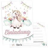 12 Einladungskarten Einhorn Unicorn Mädchen Kindergeburtstag Kinder Party Geburtstag-Einladungen zum ausfüllen (Mädchen, inkl. Umschläge)