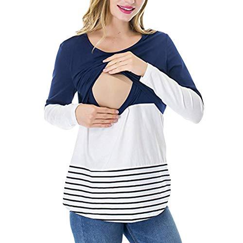 Damen Mode Schwangerschaft Stillen Tees Shirt Kleidung Für Cute Chic Schwangere Langarm Umstands Still T Shirt Mutterschaft Nursing Tops Streifen (Color : Dunkel Blau, Size : XL) -