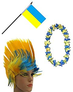 Sonia Originelli Fanpaket Hawaiikette Perücke Irokese Fahne Flagge Ukraine blau gelb UKR-SET-4-Iro
