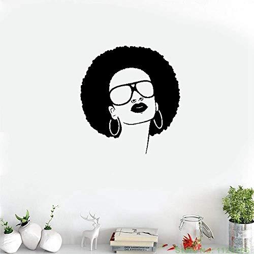 Wandtattoo Kinderzimmer Wandtattoo Wohnzimmer Heiße schwarze Frauen-Mädchen-Sonnenbrille-Schönheitssalon