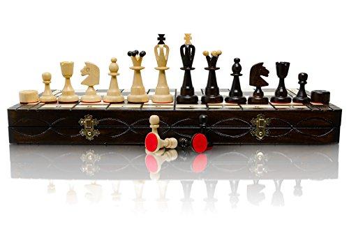 RIESIGE 50cm / 20in größte hölzerne Schach und Dame / Draughts Game, Handcrafted klassische Spiel