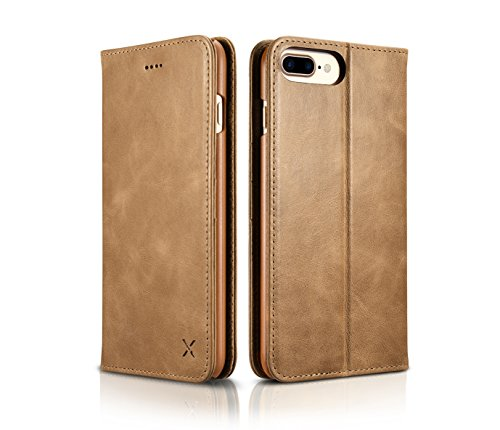 iPhone 7 Plus Wallet Case, DEMEDO [ X Series ] [100% Cowhide Leather] Folio Cover with Stand, Raised Camera Protection,3 Card Slots & Cash Slot, Flip Shell for iPhone 7 Plus(Braun) Khaki