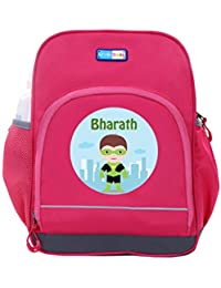 UniQBees Personalised School Bag With Name (Little Life Pre-School Backpack-Pink-Green)