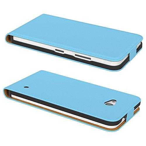 PREMIUM - Flip Case für - Nokia Lumia 535 - Wallet Cover Hülle Schutzhülle Etui Tasche Schwarz Hellblau (Flip)