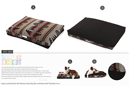 LaiFug-Double-side-Memory-Foam-PetDog-Bed-with-removable-Washable-Cover-Medium91x64x13-Indian-StyleBlack