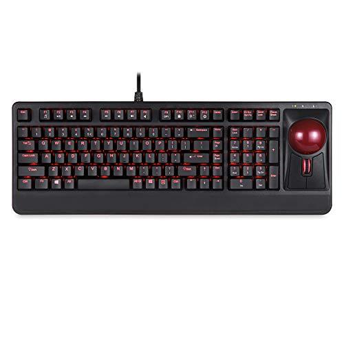 Perixx Periboard-322 Beleuchtete Trackball Tastatur mit Mechanischen Tasten - 55 mm Große