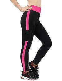 4How® Leggings de Sport Pantalons Rayé Côtés pour Yoga (Liquidation totale)