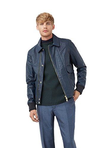 MANGO MAN - Lederjacke mit Lederjacken taschen - Size:XXL - Color:Marineblau