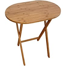 Plegable mesa auxiliar de bambú natural