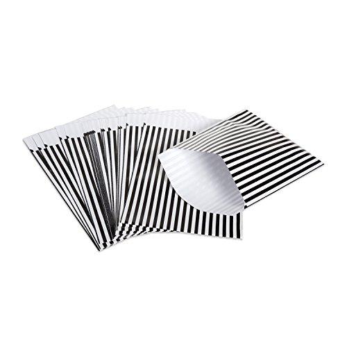 10 kleine schwarz weiß gestreifte Papiertüten Flachbeutel Kraftpapier 17,5 x 21 + 3 cm (Lasche) Verpackung Gast-Geschenke, Mitgebsel-Tüten, give-aways als Geschenktüten Partytüten Kindertüten