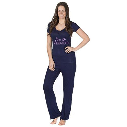 Forever Dreaming Damen Weiches Viskose Jersey Pyjama Set Navy Slogan