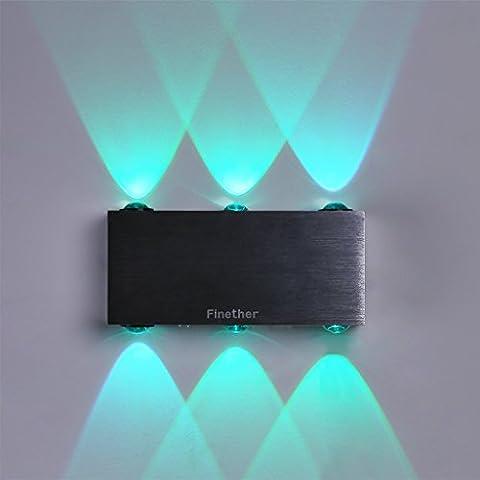 Finether 18W LED Wandleuchte Wandlampe Wandfluter Flurlampemit 2 Leuchten   Mehrere Modi Wandleuchte Fernbedienung für Innen Schlafzimmer Wohnzimmer Treppenhaus Flur Wand   Modern Design Lampe Wandbeleuchtung Wandlicht Wandstrahler Effektlampeindirektes Licht RGB Gradient