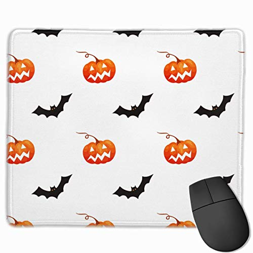 ASKSSD Mouse Pad Halloween Pumpkin Bat Pattern Rectangle Non-Slip 9.8in11.8 in Unique Designs Gaming Rubber Mousepad Stitched Edges Mouse Mat