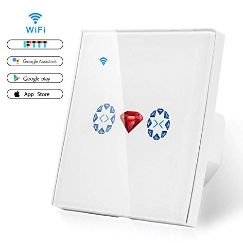 leegoal Rolladen Zeitschaltuhr, WLAN Rolladen Schalter kompatibel mit Alexa und Google Home, Smart Jalousien Schalter mit Touch Panel, APP Fernbedienung und Zeitplanfunktion, Neutralleiter benötigt -