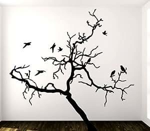 Adesivo murale wall art albero 3 misure 180x180 cm decorazione parete adesivi per muro - Stencil albero da parete ...