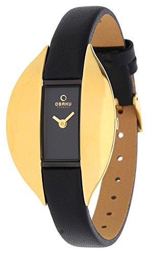 Obaku Denmark V155LABRB1 - Reloj analógico para mujer de cuero negro