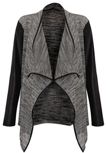 Crazy Girls-(womens grey leather sleeved waterfall cardigan (mtc) Frauen grau Leder Ärmeln Wasserfall Strickjacke (M/L(40-42), Charcoal) (Blazer Damen Leder)