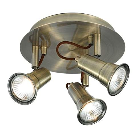 Searchlight 1223AB Eros 3 Light Ceiling Spotlight Antique Brass by Searchlight