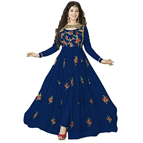 J K FASHION WOMEN'S SEMI STITCHED SALWAR SUIT SET NAVY BLUE