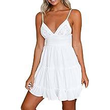 Vestidos Espalda Descubierta Fiesta Mujer LHWY, Vestidos Tirantes De Cuello En V Vestidos Encaje Blanco Verano Playa