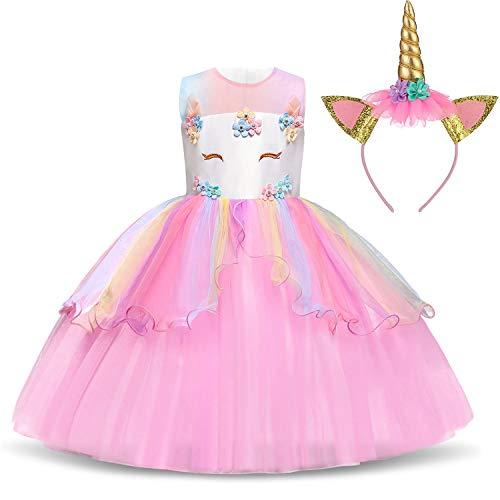Mädchen Kostüm Kleines Pageant - TTYAOVO Mädchen Star Einhorn Phantasie Prinzessin Kleid Kinder Blume Pageant Party Kleid Ärmellose Rüschen Kleider Größe 8-9 Jahre Rosa