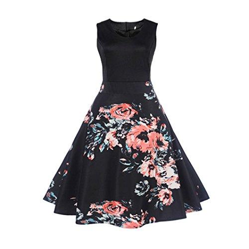 OVERDOSE Damen Blumen Vintage 1950er Ärmellos Casual Abend Partei Abschlussball Schwingen Kleid Cocktailkleid Rockabilly Kleid(A-Black,EU-42/CN-XL) (Überprüfen Sie Wolle Seide Schal)
