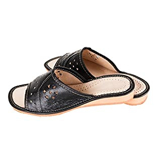 Ladies/Womens 100% Natural Leather Slippers Size: 3, 4, 5, 6, 7, 8 / Cream, Red, Black (5 UK / 38 EU, Black)
