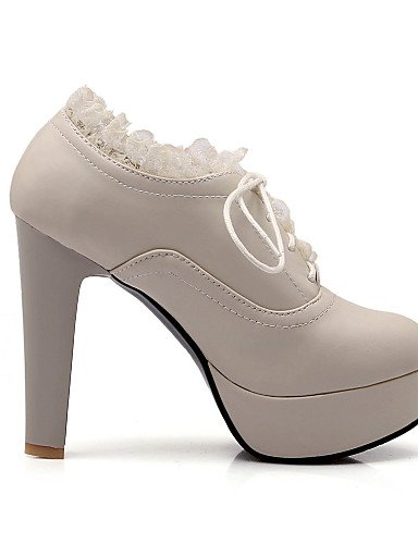ZQ hug Scarpe Donna - Scarpe col tacco - Casual - Tacchi / Plateau - A stiletto - Finta pelle - Nero / Marrone / Beige , beige-us6.5-7 / eu37 / uk4.5-5 / cn37 , beige-us6.5-7 / eu37 / uk4.5-5 / cn37 brown-us9 / eu40 / uk7 / cn41