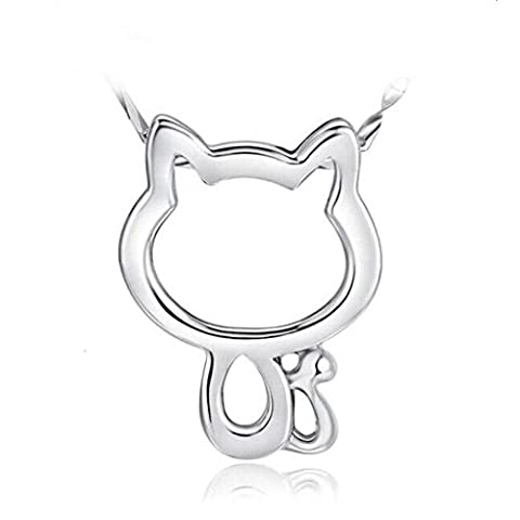 Halskette Katze 925 Silber Kette Kitty Perle Silberkette Kätzchen Anhänger Mädchen
