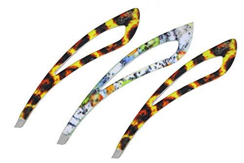 Pincette à sourcils - plumeuse - pince à épiler - extension de cils - Pincette colorée - 9.3 cm - Set de 5 pcs - Acier inoxydable de