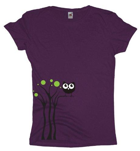 Ma2ca - Black Owl Tree - Eulen T-Shirt Purple