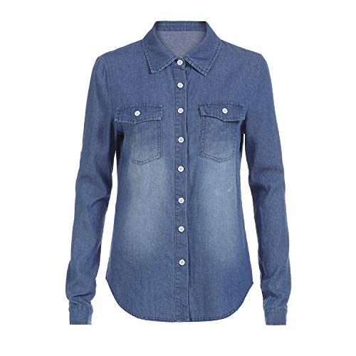 Langarmshirt Damen T-Shirt FGHYH Damen Casual Blue Jean Denim Langarm Shirt Tops Bluse Jacke(M, Blau) Blue Denim Bekleidung
