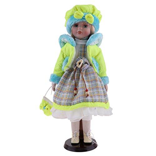 B Baosity Muñeca De Muñeca De Porcelana Victoriana De Invierno Artesanal con Soporte De Pantalla 16 Pulgadas