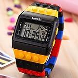 XKC-watches Orologi da uomo, Unisex lcd digitale blocco colorato stile mattone orologio da polso (Colore : Rosso, Taglia : Taglia unica)
