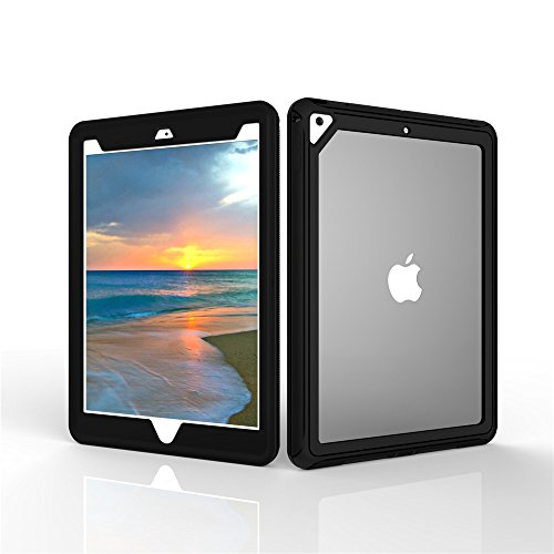 iPad 2017 prove 9.7 inch, DIGIC Heavy Duty Shock Resistant Hard PC+Soft TPU Transparent Dual Layers Full Protective Tablet Protection for Apple iPad 2017(Black/white)