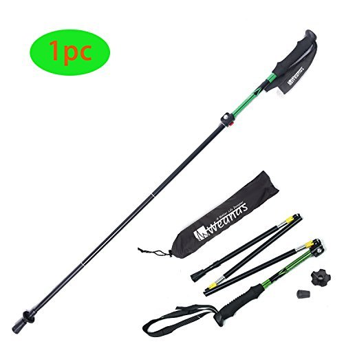Yahill® 1pc or 2 pcs Folding Trekking Pole Collapsible Climbing Stick Ultralight Adjustable, Alpenstocks with EVA Foam Handle, for Traveling Hiking Camping Climbing Backpacking Walking (Black&Green - 1pc)