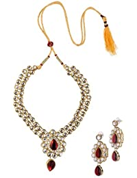 Adbeni Bridal Wedding Maroon Metal Alloy Jewellery Set With Necklace And Earring For Women 1502