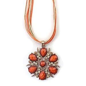 Collier avec pendentif strass orange multi-couche Vintage