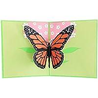 Mengonee 3D-Pop-Up-Schmetterlings-Blumen-Gruß-Geburtstags-Frühlings-Karte Folds Wohnung für Mailing mit grünem Deckel