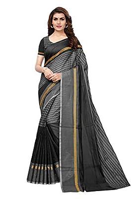Indira Designer Women's Cotton Saree With Blouse Piece (Free Size)