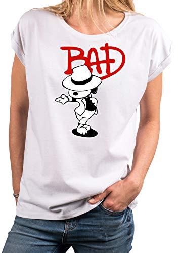 MAKAYA Damen T-Shirt locker & lässig geschnitten - Bad Dog Snoop Jackson - weiß große Größen M