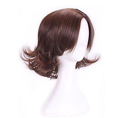 OOFAY JF-30 cm Cosplay Anime Perücken Braun nicht voll kurzen lockigen Kunsthaar Perücke Partei peruca perucas , (Lockigen Kurzen Perücken)