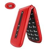 Ukuu Telefono Cellulare a Conchiglia per Anziani 2.4' Dual SIM Free con Tasti Grandi Facile da usare con SOS Pulsante - Rosso
