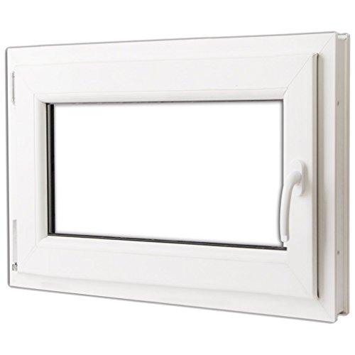 Preisvergleich Produktbild Festnight 3-in-1 PVC Fenster Drehkippfenster mit 2 Fach Verglast Doppelverglasung-Fenster mit Rechtsseitig Griff 800x600mm