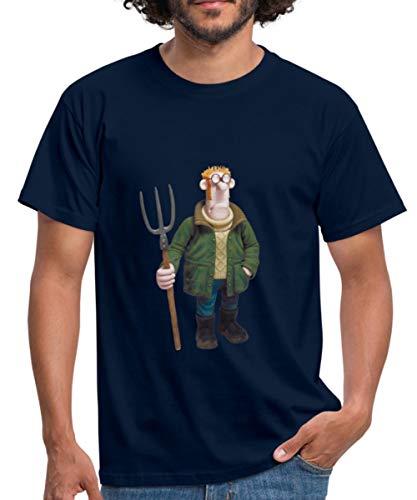 Spreadshirt Shaun das Schaf Bauer Männer T-Shirt, M, Navy